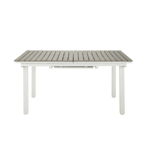 Table rallonge de jardin en composite imitation bois et aluminium l 157 cm - Composite imitation bois ...