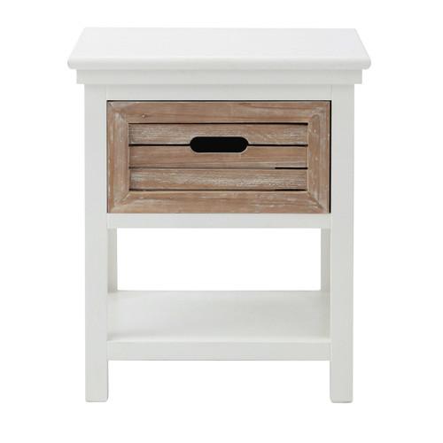 Table de chevet avec tiroir en bois blanche l 40 cm for Table de chevet suspendu avec tiroir