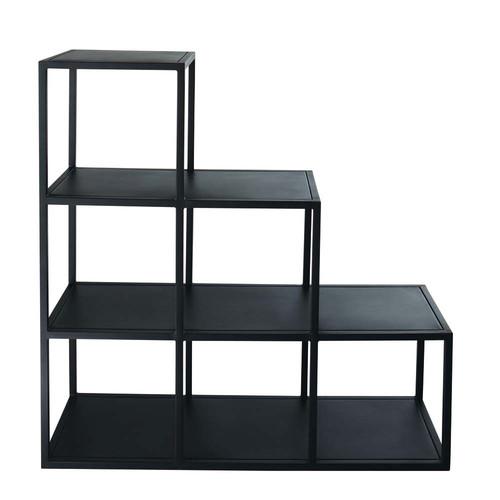 Tag re indus en m tal noire l 105 cm edison maisons du - Etageres modulables en metal ...