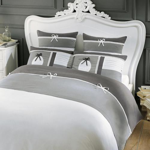 parure de lit 220 x 240 cm en coton grise chaumont. Black Bedroom Furniture Sets. Home Design Ideas
