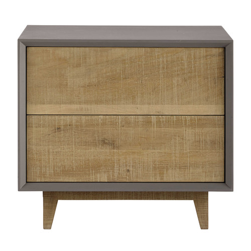 Table de chevet avec tiroirs grise l 50 cm vermont for Chevet mural avec tiroir