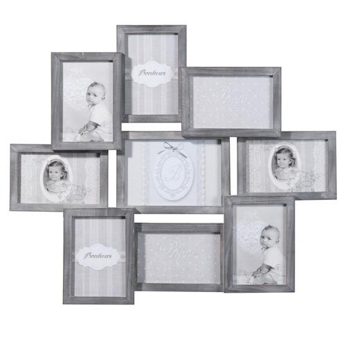 9 fach bilderrahmen relief aus holz 50 x 58 cm grau maisons du monde. Black Bedroom Furniture Sets. Home Design Ideas