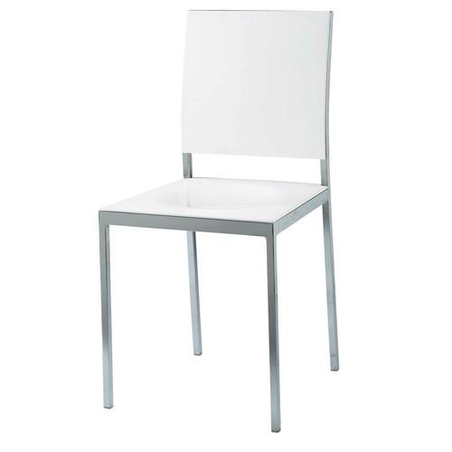 Chaise en plastique et m tal blanche oslo maisons du monde - Chaise blanche plastique ...