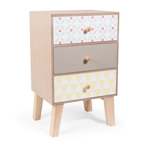 meuble 3 tiroirs en bois l 24 cm seventies maisons du monde. Black Bedroom Furniture Sets. Home Design Ideas