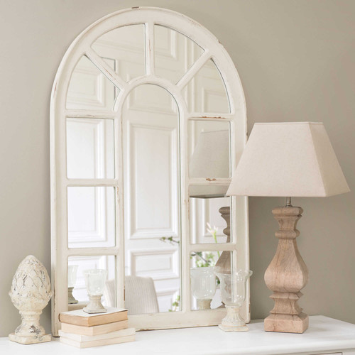 miroir fen tre en bois blanc h 122 cm ofelia maisons du monde. Black Bedroom Furniture Sets. Home Design Ideas