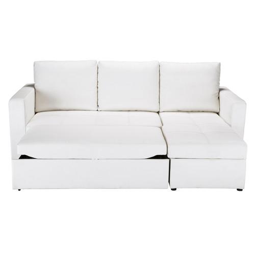 canap d 39 angle convertible 3 places en polyur thane blanc toronto maisons du monde. Black Bedroom Furniture Sets. Home Design Ideas