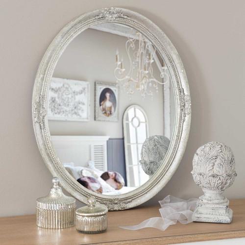 Miroir en bois argent h 57 cm verneuil for Maison du monde 5 bd montmartre