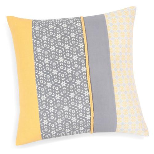housse de coussin en coton jaune grise 40 x 40 cm silves maisons du monde. Black Bedroom Furniture Sets. Home Design Ideas