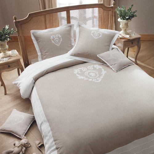 Parure de lit 220 x 240 cm en coton beige camille - Parure de lit beige et marron ...