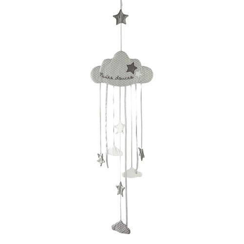 Guirlande nuage enfant en coton grise l 130 cm douce nuit for Guirlande bois flotte maison monde