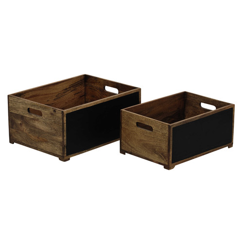 2 caisses en bois et ardoise henderson maisons du monde. Black Bedroom Furniture Sets. Home Design Ideas