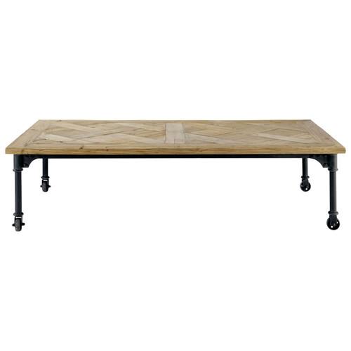 Tavolo basso a rotelle in legno e metallo l 160 cm mirabeau maisons du monde - Table basse roulettes maison du monde ...