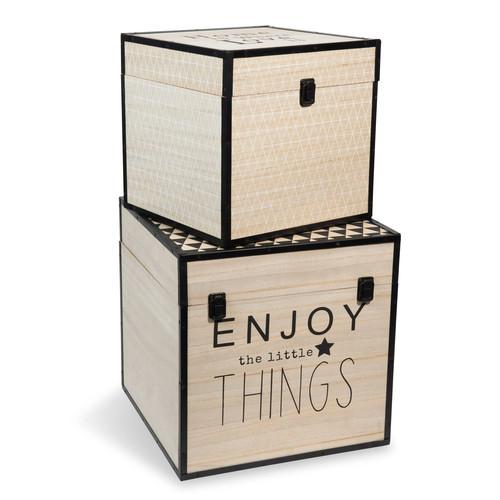 2 coffres en bois graphique maisons du monde. Black Bedroom Furniture Sets. Home Design Ideas