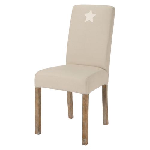 Housse de chaise toile en coton beige for Housse de chaise beige