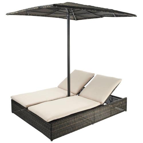 bain de soleil double en r sine tress e marron l 200 cm. Black Bedroom Furniture Sets. Home Design Ideas