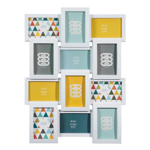 Cadre photo 12 vues en plastique blanc 46 x 61 cm for Maison du monde cadre