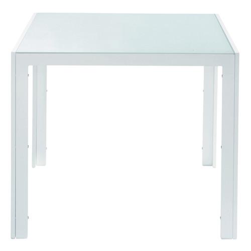 table de jardin en verre tremp et aluminium blanche l 90 cm santorin maisons du monde. Black Bedroom Furniture Sets. Home Design Ideas