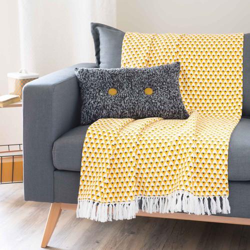 jet en coton jaune 180 x 240 cm hilton. Black Bedroom Furniture Sets. Home Design Ideas