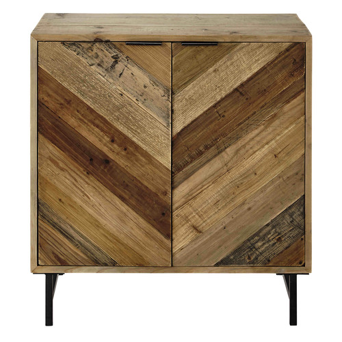 buffet en bois de pin recycl l 80 cm chevron maisons du monde. Black Bedroom Furniture Sets. Home Design Ideas