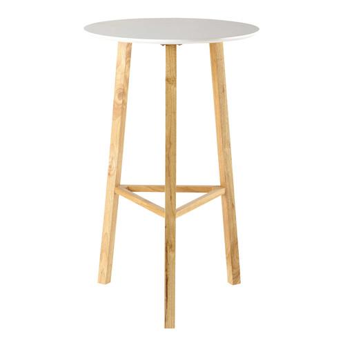 Table ronde haute de salle manger en bois blanche d 65 - Table haute a manger ...