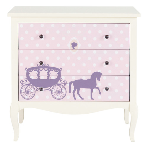commode enfant en bois blanche et rose l 81 cm princesse maisons du monde. Black Bedroom Furniture Sets. Home Design Ideas