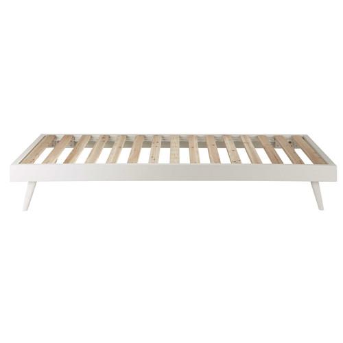 Lit En Bois Blanc : Lit banquette 90 x 190 cm en bois blanc Sixties Maisons du Monde