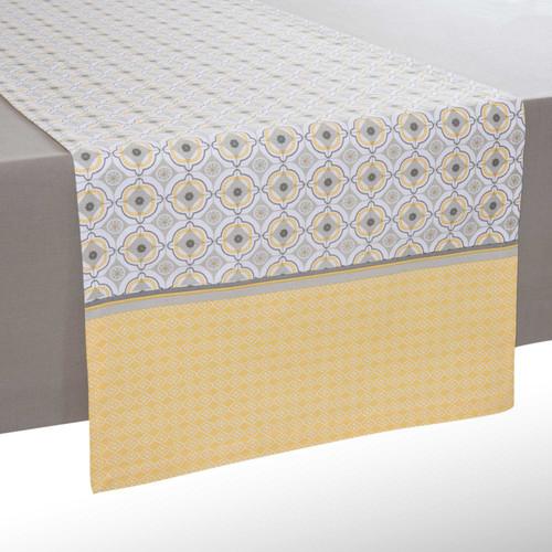 chemin de table en coton jaune gris l 150 cm oeiras. Black Bedroom Furniture Sets. Home Design Ideas