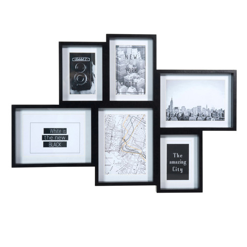 cadre photo 6 vues en bois noir 41 x 58 cm black summer maisons du monde. Black Bedroom Furniture Sets. Home Design Ideas