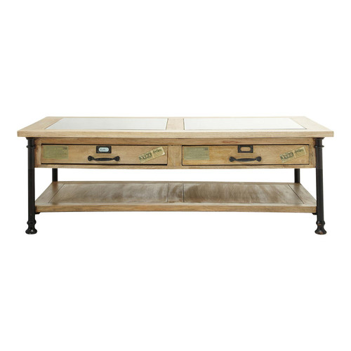 Table basse en verre et manguier massif l 135 cm - Table basse manguier ...