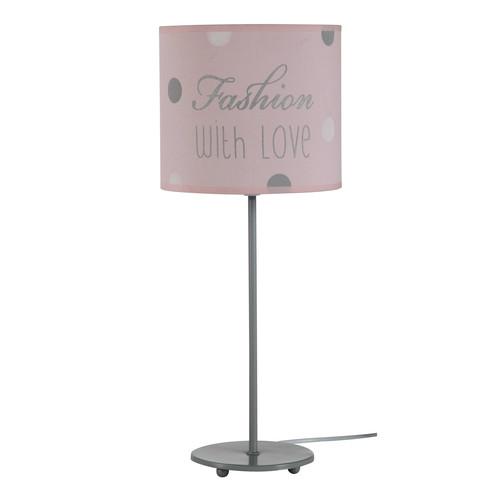 Lampe de chevet en m tal grise et abat jour coton rose h 49 cm blush maisons du monde for Lampe de chevet grise