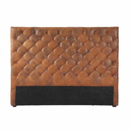 Tête de lit capitonnée vintage imitation cuir marron L 160 cm