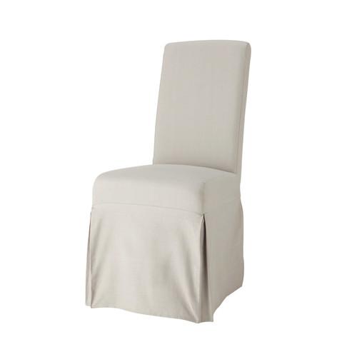 housse longue de chaise en coton gris clair margaux maisons du monde. Black Bedroom Furniture Sets. Home Design Ideas