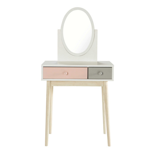 coiffeuse enfant en bois blanche et rose l 69 cm blush. Black Bedroom Furniture Sets. Home Design Ideas