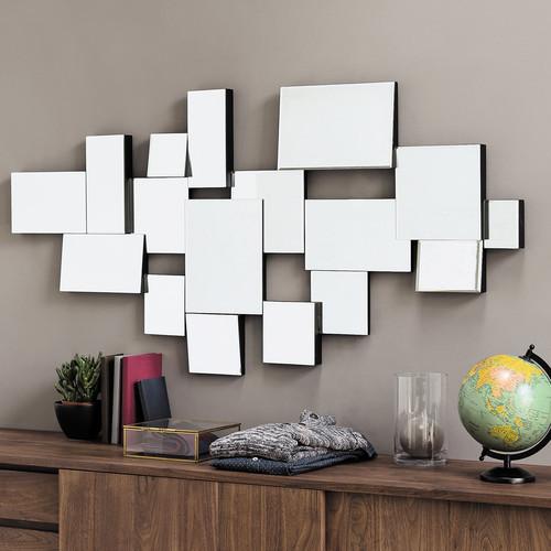 Miroir biseaut en bois noir h 140 cm graphic maisons du for Miroir enigma