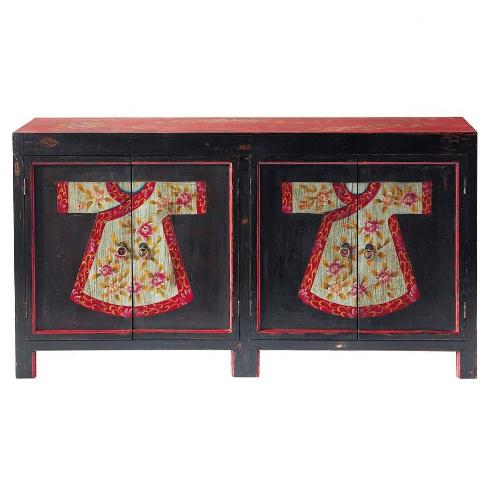 buffet motifs en bois noir et rouge l cm kimono maisons du. Black Bedroom Furniture Sets. Home Design Ideas