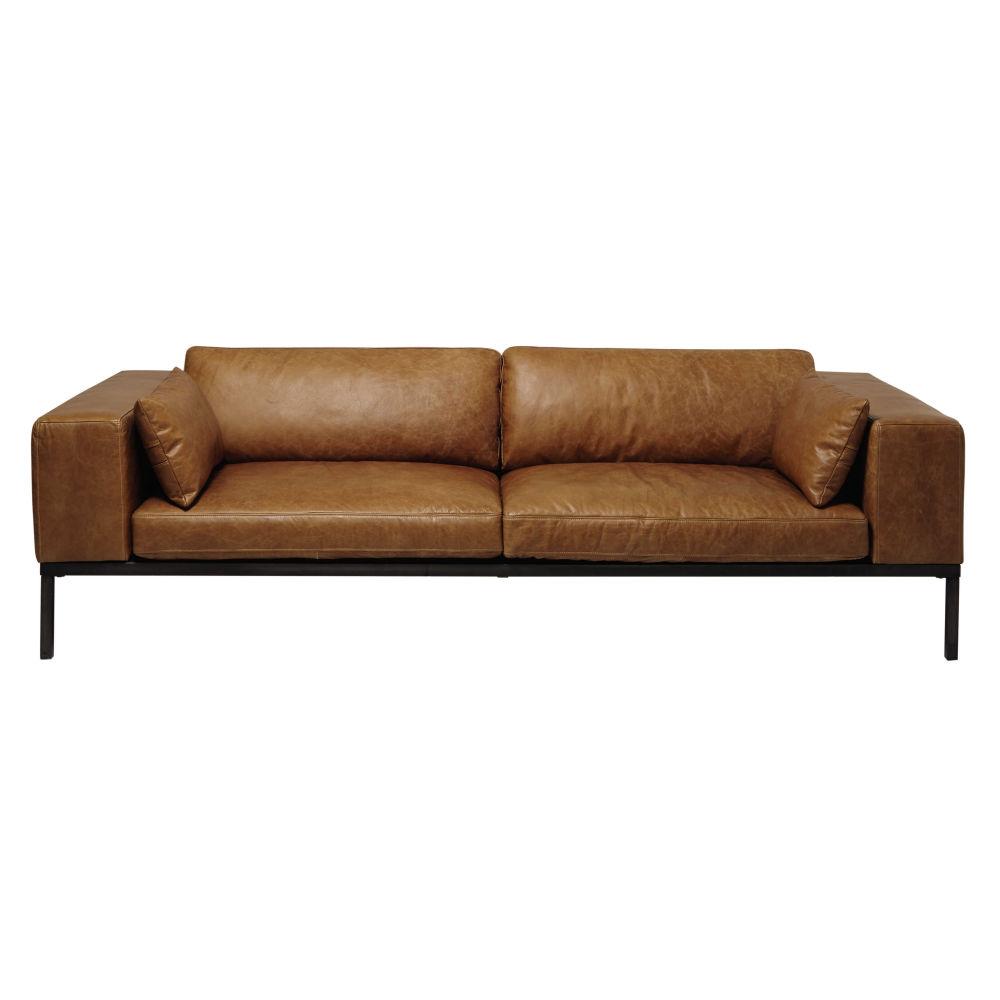 4 seater leather sofa in camel Wellington | Maisons du Monde
