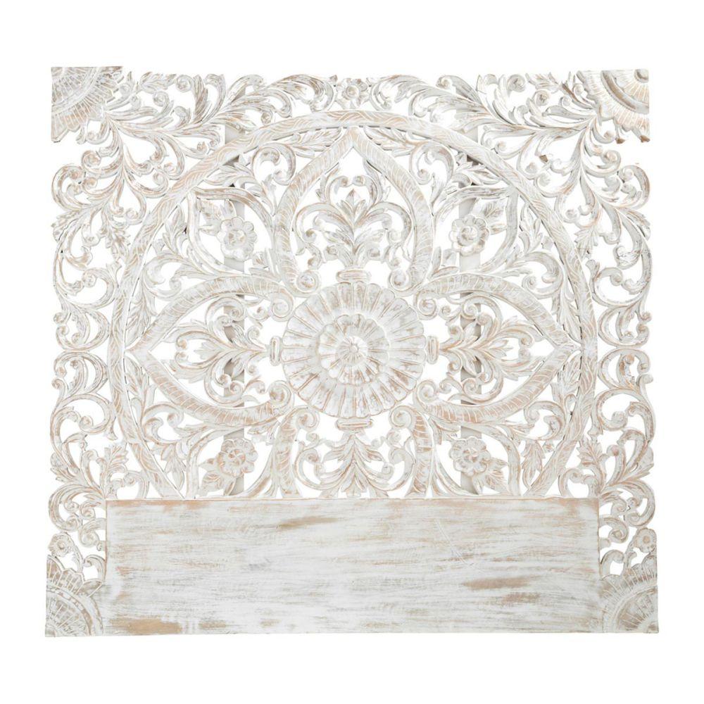 Tête de lit sculptée en manguier massif blanche effet