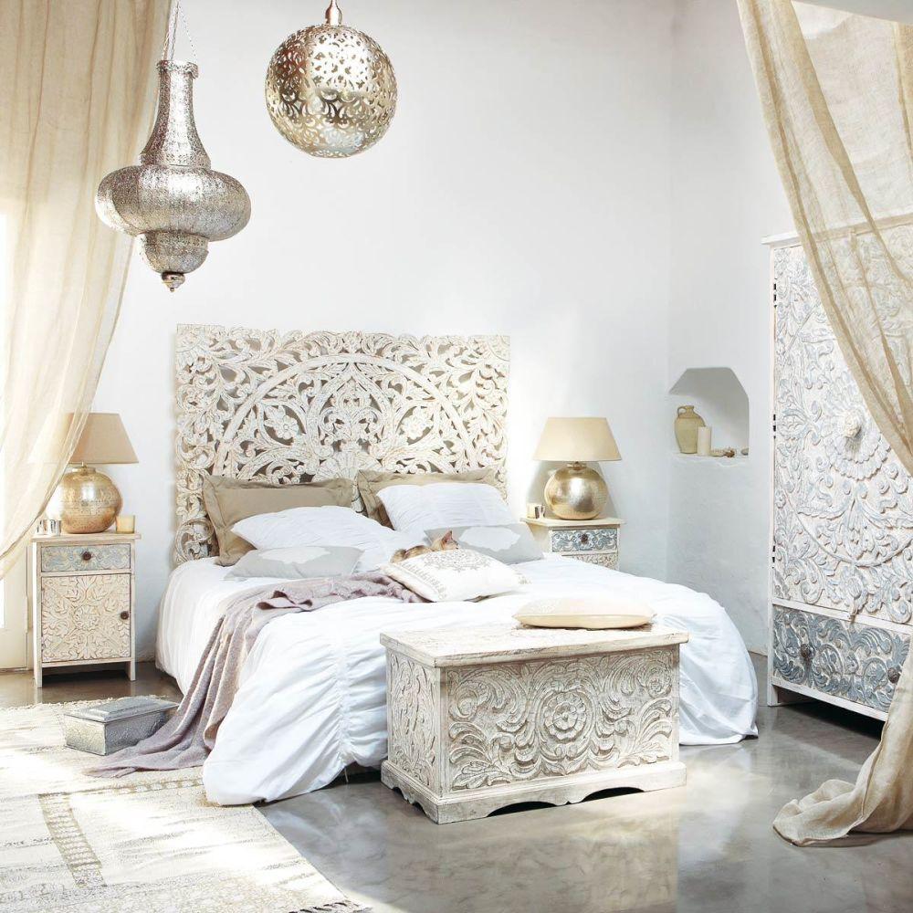 T te de lit sculpt e en manguier massif blanche effet vieilli l 160 cm kerala - Tete de lit maison du monde 160 ...