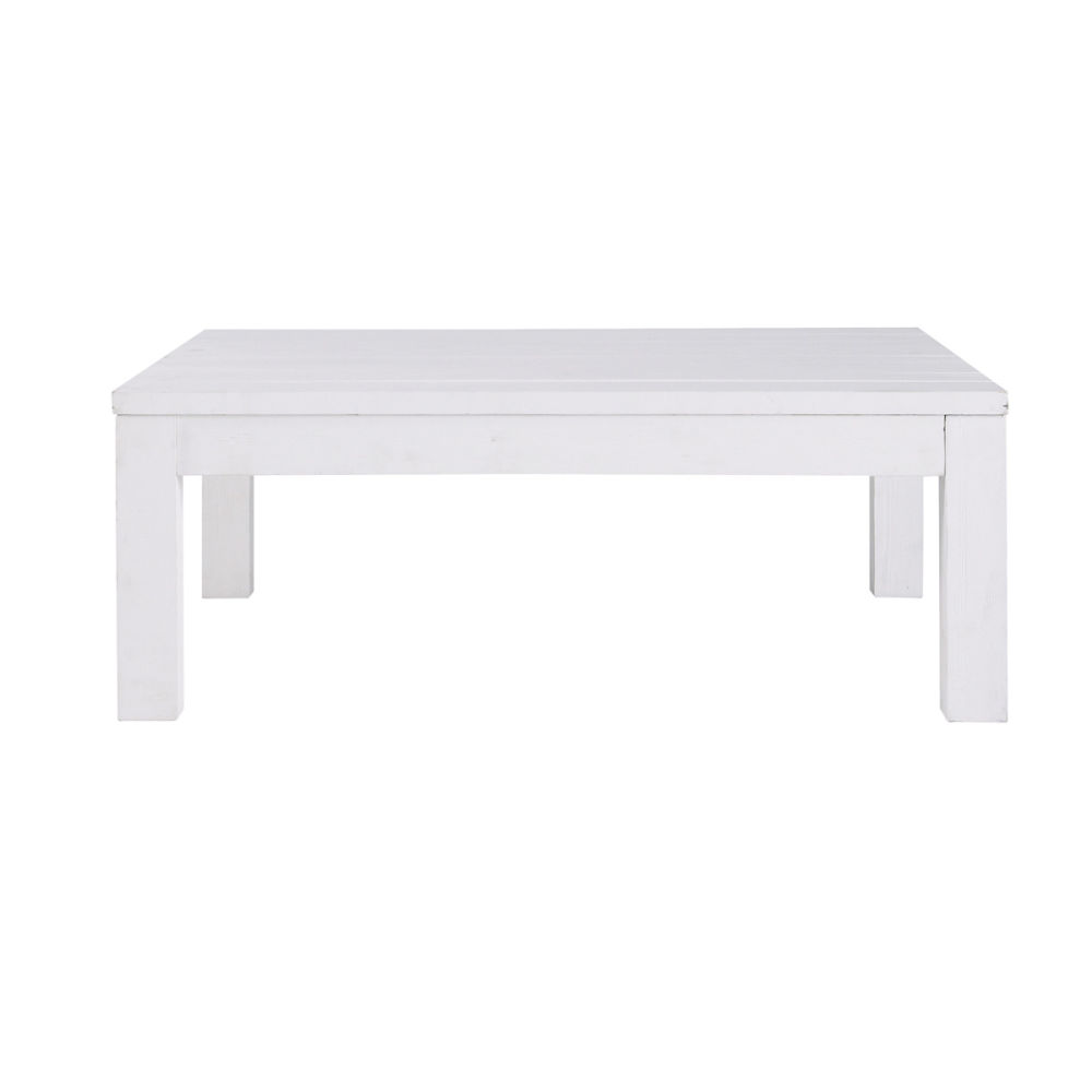 Table basse en bois massif blanche l 100 cm white maisons du monde - Table basse blanche but ...