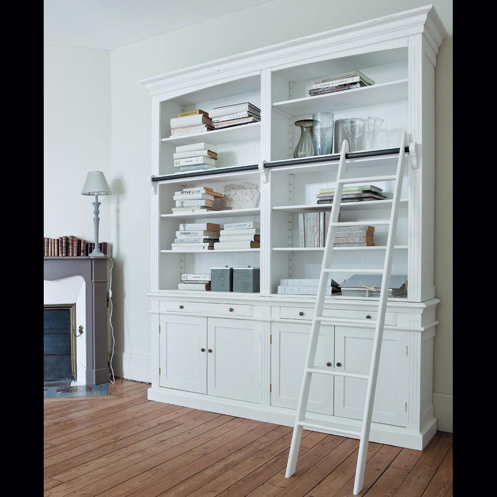 Biblioth que avec chelle en bois blanche l 200 cm - Meuble bibliotheque avec echelle ...