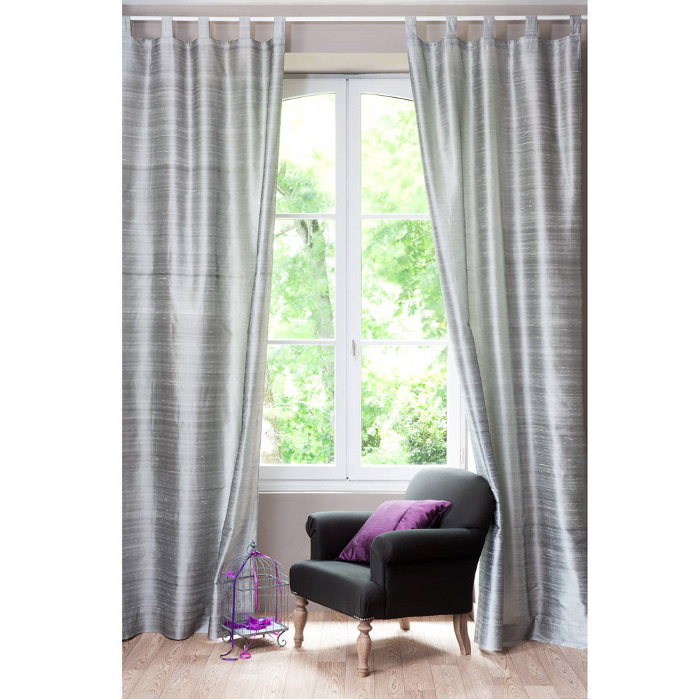 Cortina dupion gris plata maisons du monde for Cortinas para salon gris