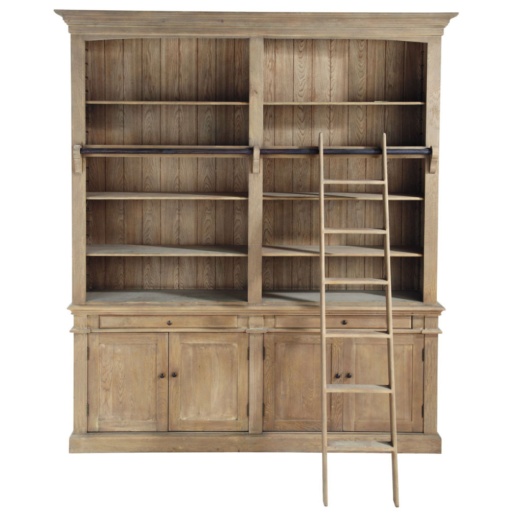 Recycled wood bookcase with ladder w 200cm - home and garden.