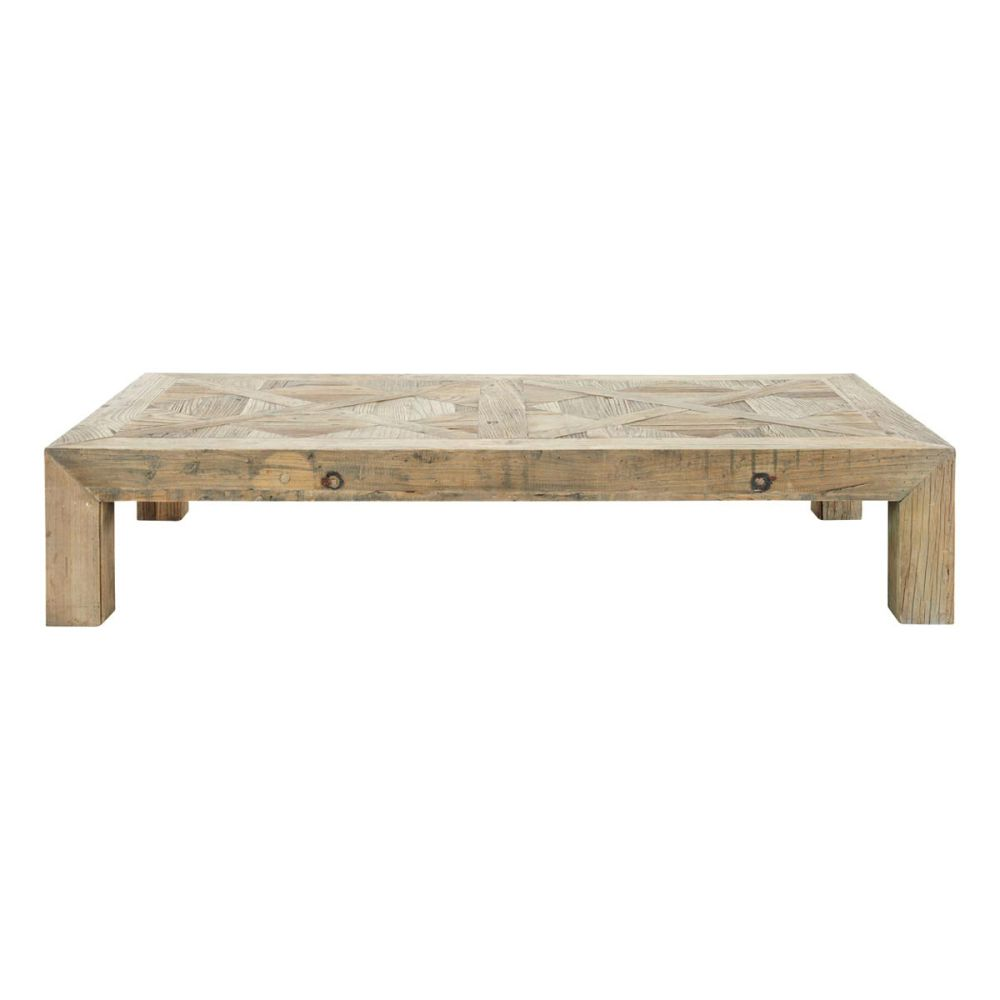 Table basse en orme massif recycl l 150 cm bruges for Table basse rectangulaire bois