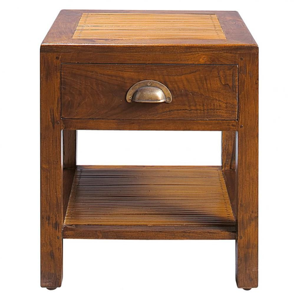 Table de chevet avec tiroir en teck massif l 40 cm bamboo for Maison du monde table chevet