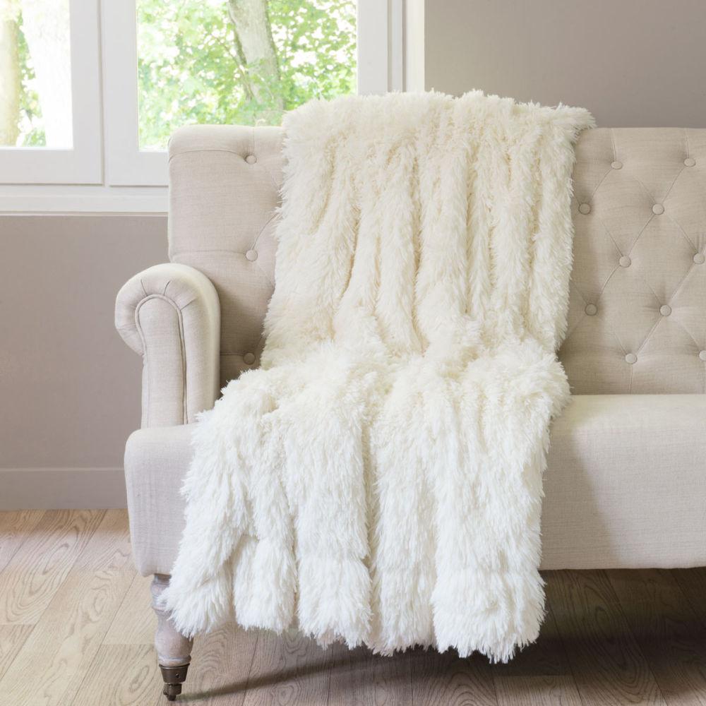 Incroyable Plaid Fourrure Maison Du Monde #10: Plaid En Fausse Fourrure Blanc 130 X 170 Cm VAL THORENS | Maisons Du Monde