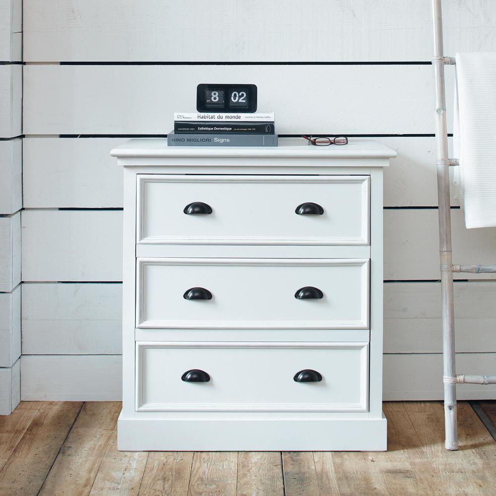 Commode en bois blanche l 80 cm newport maisons du monde - Commode style bord de mer ...