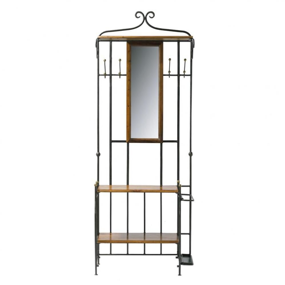 Meuble d 39 entr e avec miroir en bois de sheesham massif l for Meuble d entree bas
