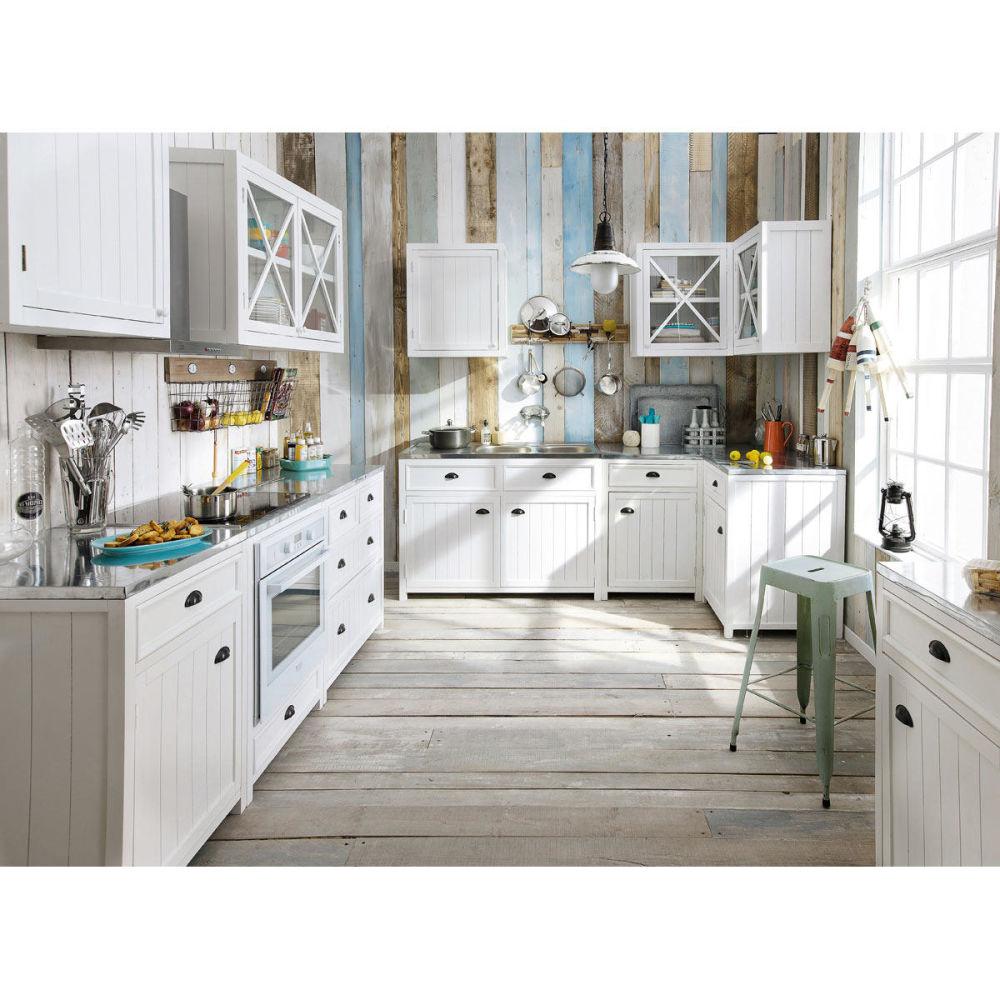 Meuble bas de cuisine en bois blanc l 90 cm newport for Element cuisine bas