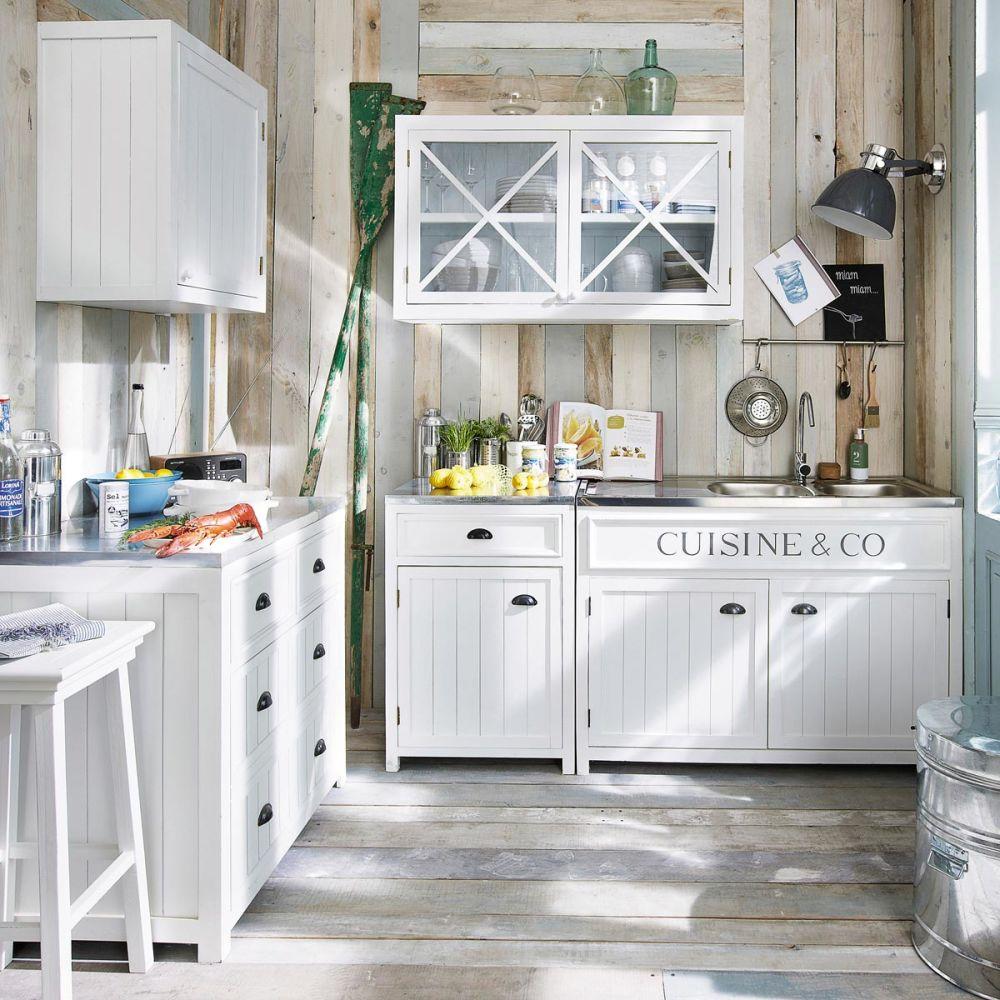 Meuble bas de cuisine en bois blanc l 90 cm newport for Element de cuisine independant