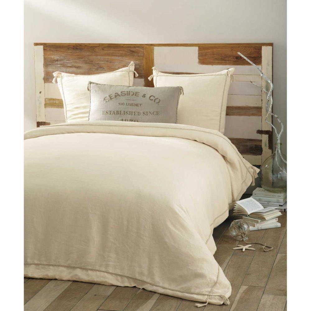 Parure de lit 240 x 260 cm en coton beige seaside - Parure housse de couette 260x240 ...